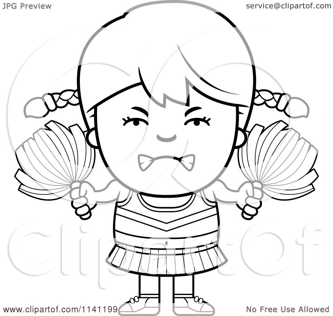 Cartoon Clipart Of A Black And White Angry Cheerleader