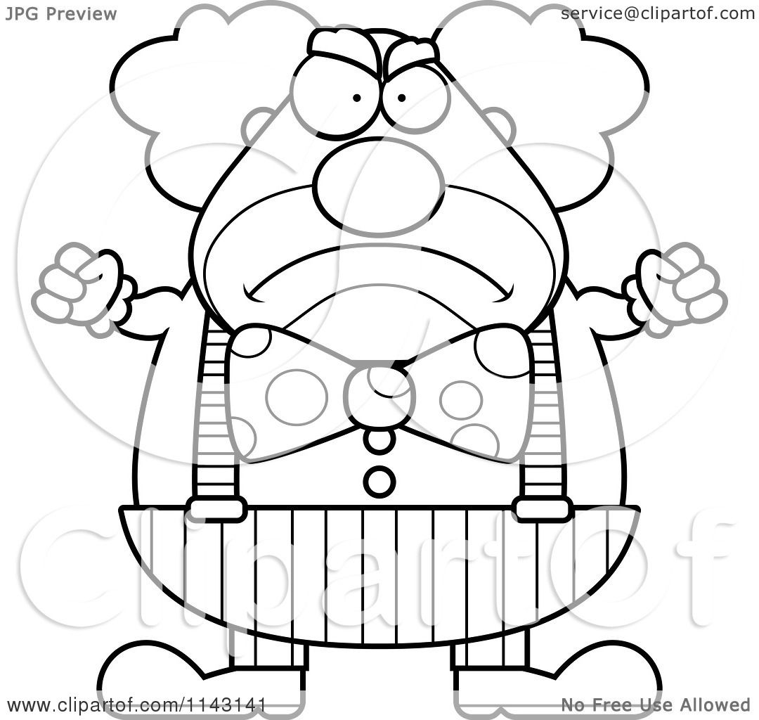 Cartoon Clipart Of A Black And White Angry Chubby Circus