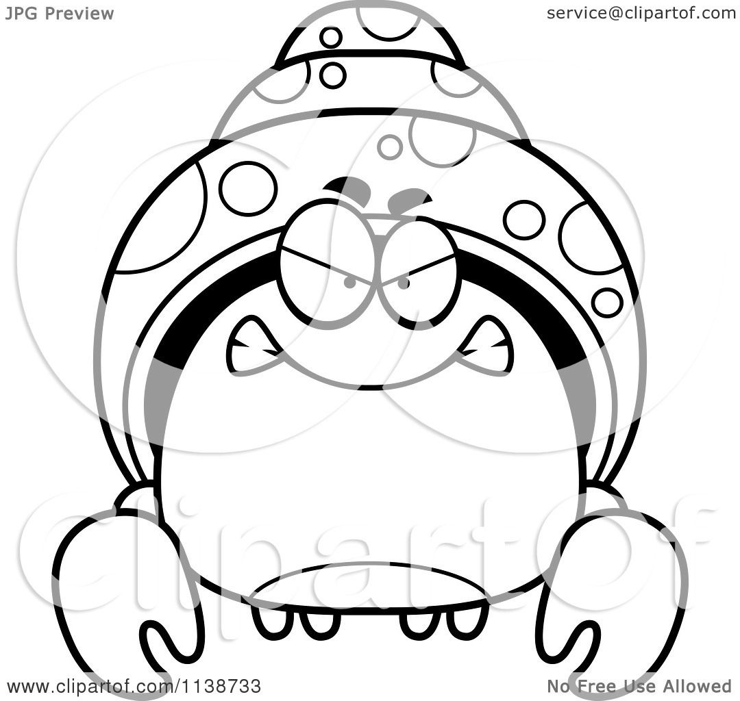 Cartoon Clipart Of A Black And White Angry Hermit Crab