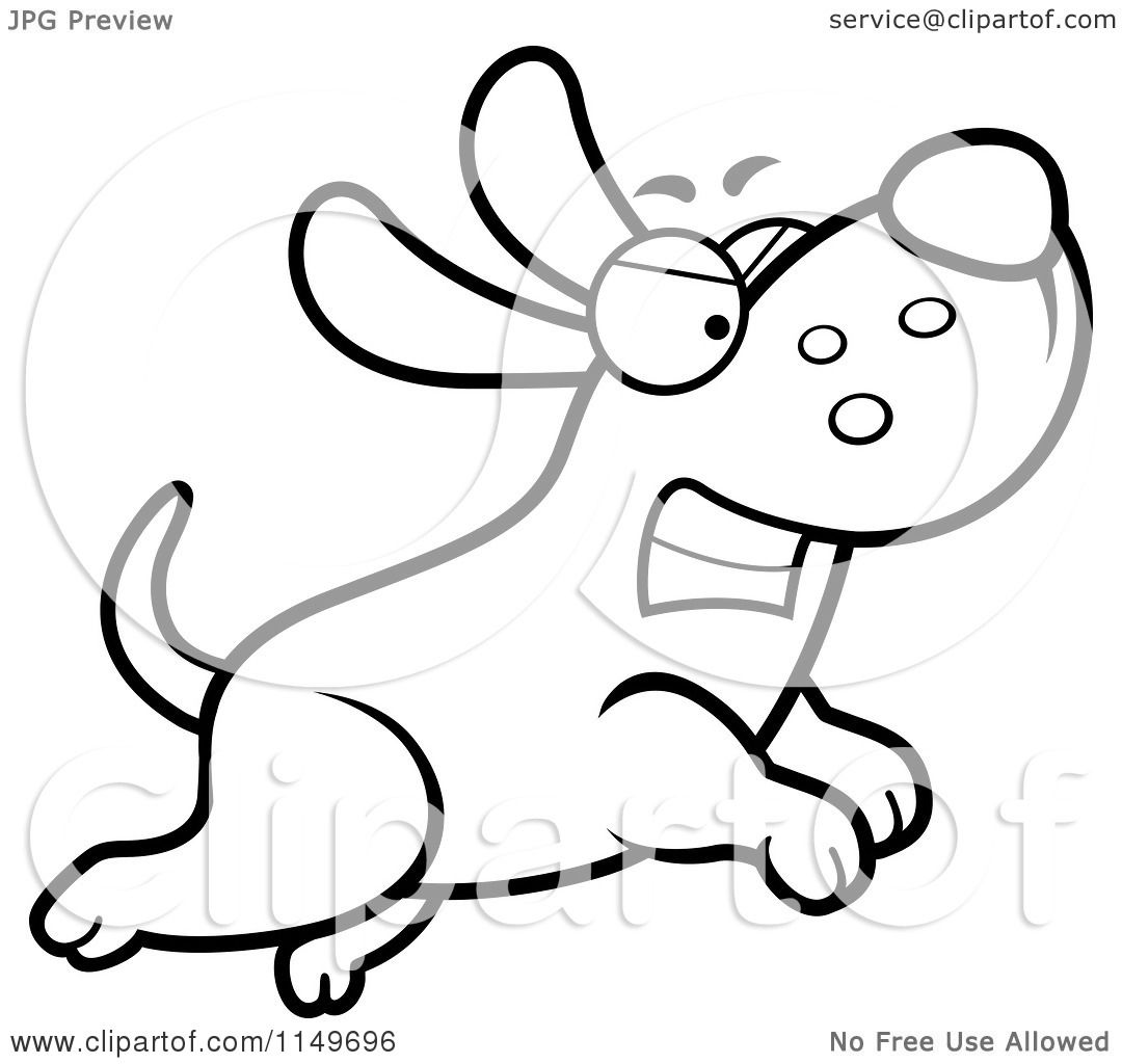 Cartoon Clipart Of A Black And White Angry Max Dog