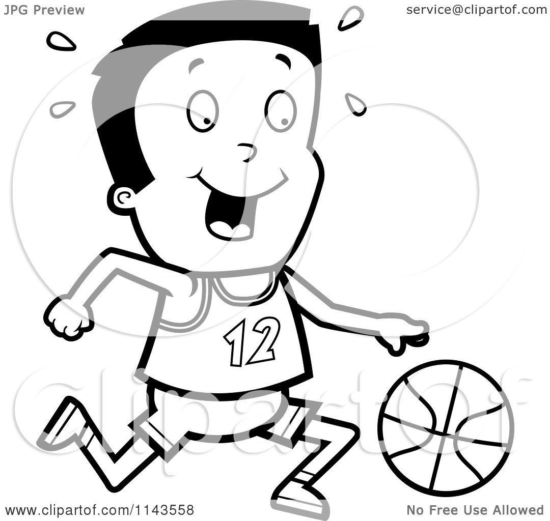 Cartoon Clipart Of A Black And White Athletic Boy