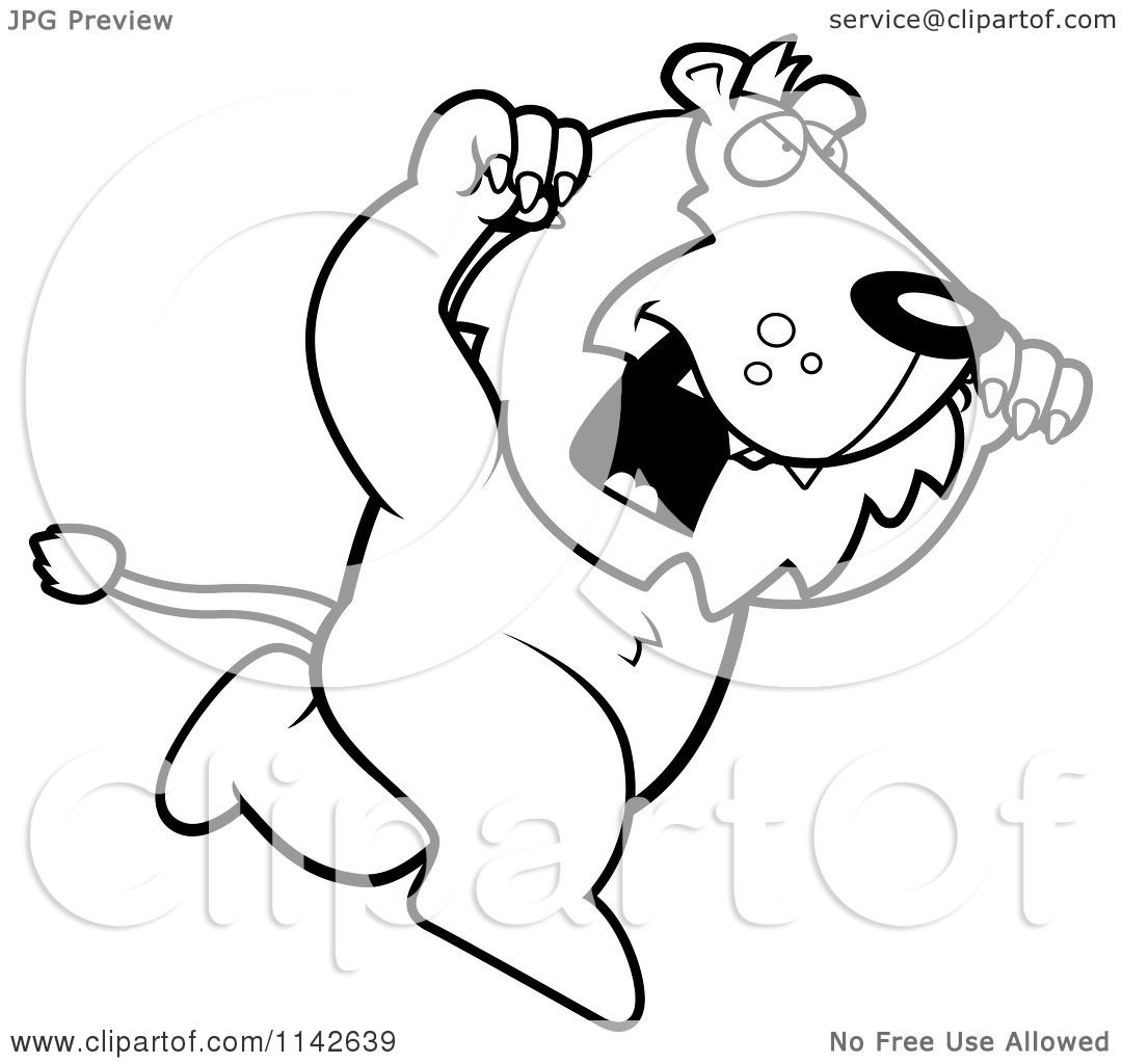 Cartoon Clipart Of A Black And Whiteing Lion