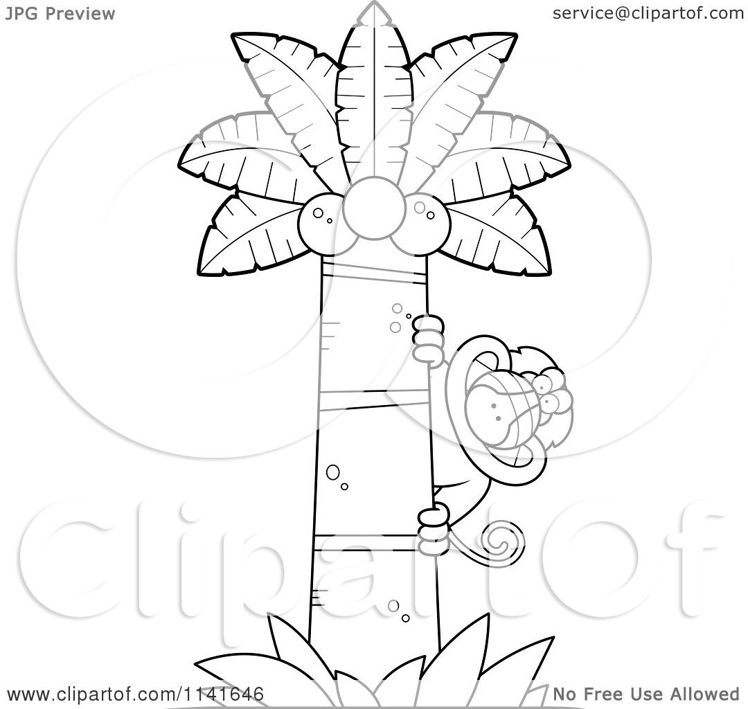 Cartoon Clipart Of A Black And White Baboon Monkey Looking