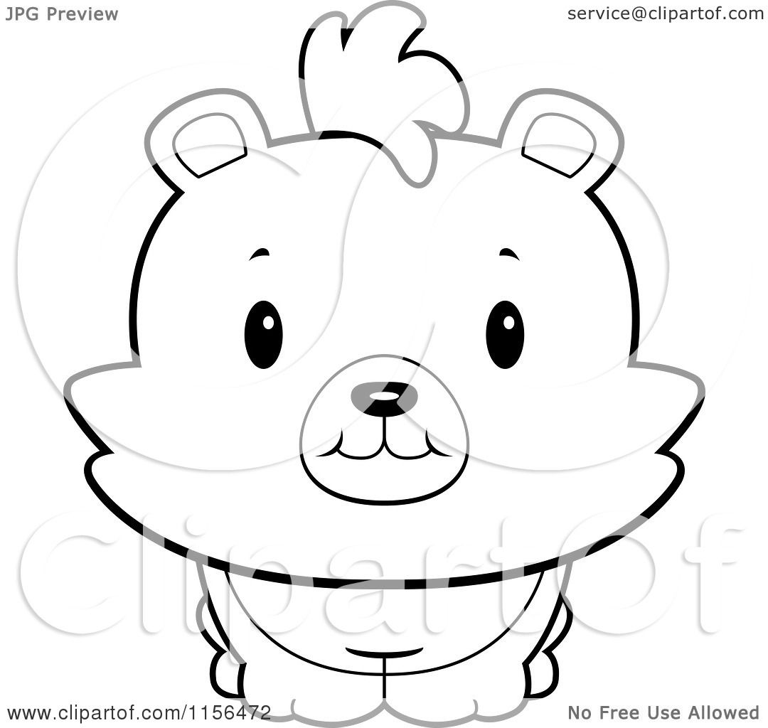 Cartoon Clipart Of A Black And White Baby Bear Smiling Upwards