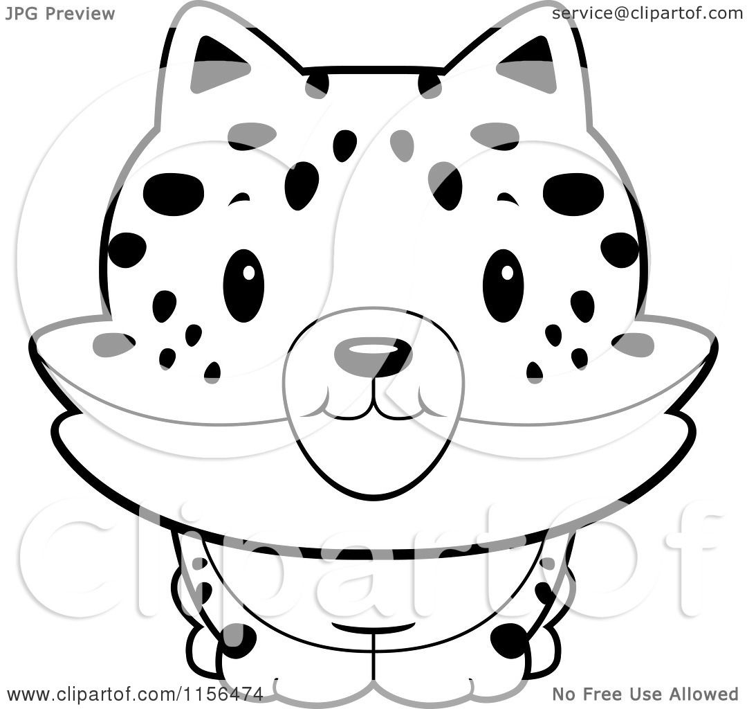 Cartoon Clipart Of A Black And White Baby Bobcat Smiling
