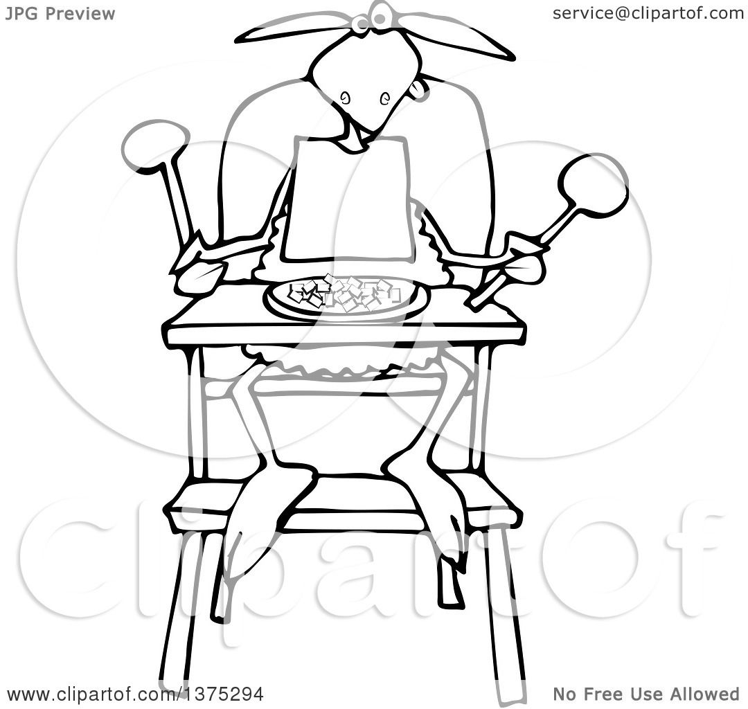 Cartoon Clipart Of A Black And White Baby Lamb Sitting In A High Chair And Wearing A Bib