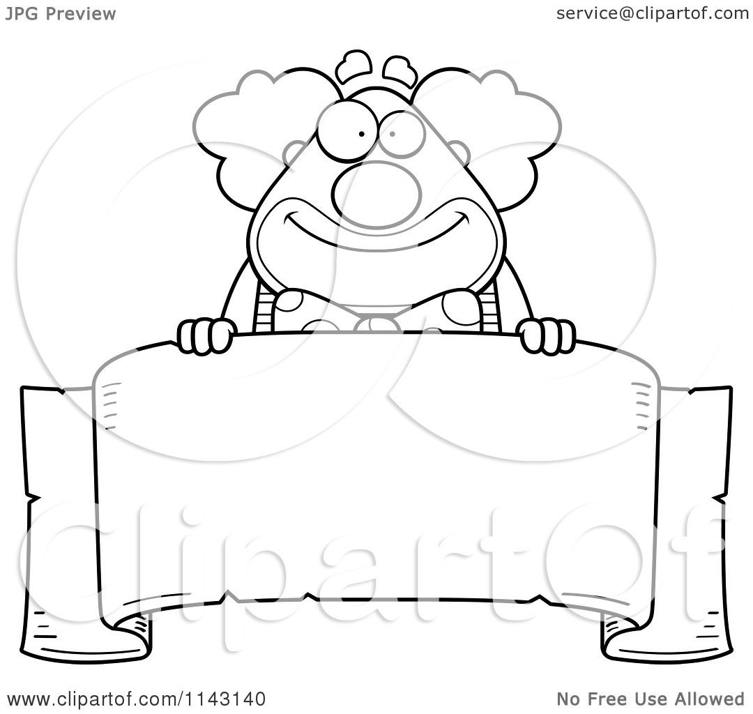 Cartoon Clipart Of A Black And White Banner And Chubby Circus Clown