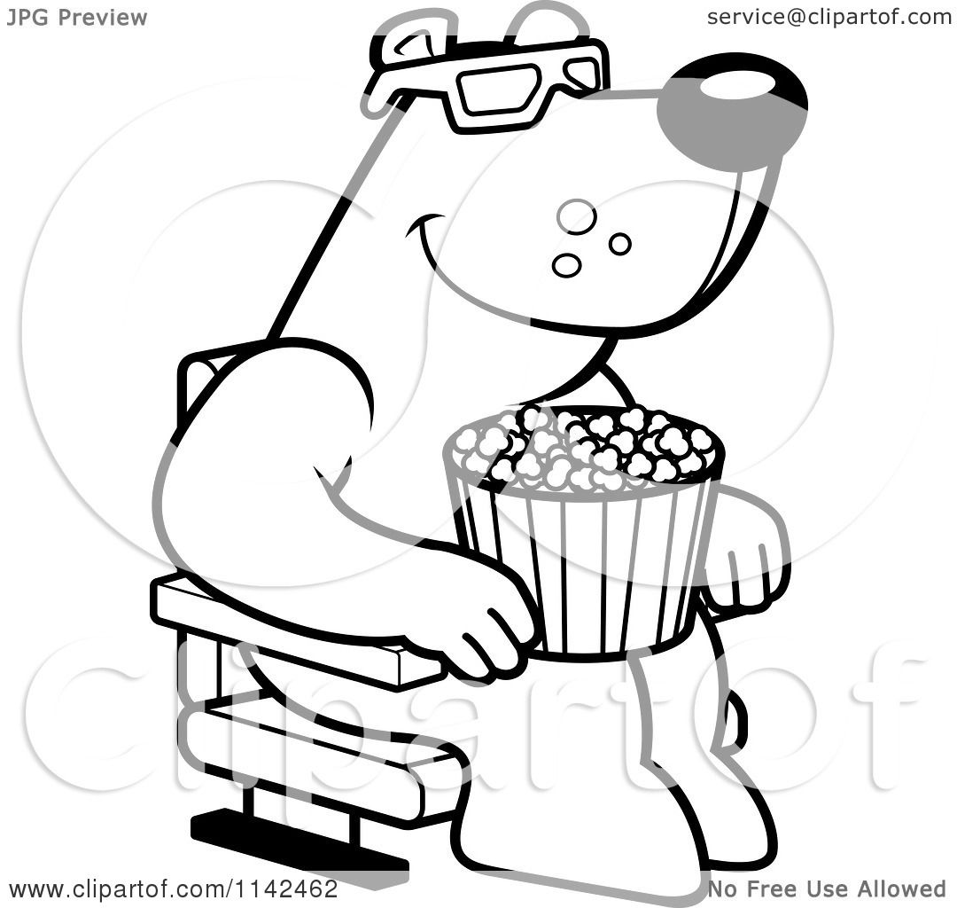 Cartoon Clipart Of A Black And White Bear Eating Popcorn