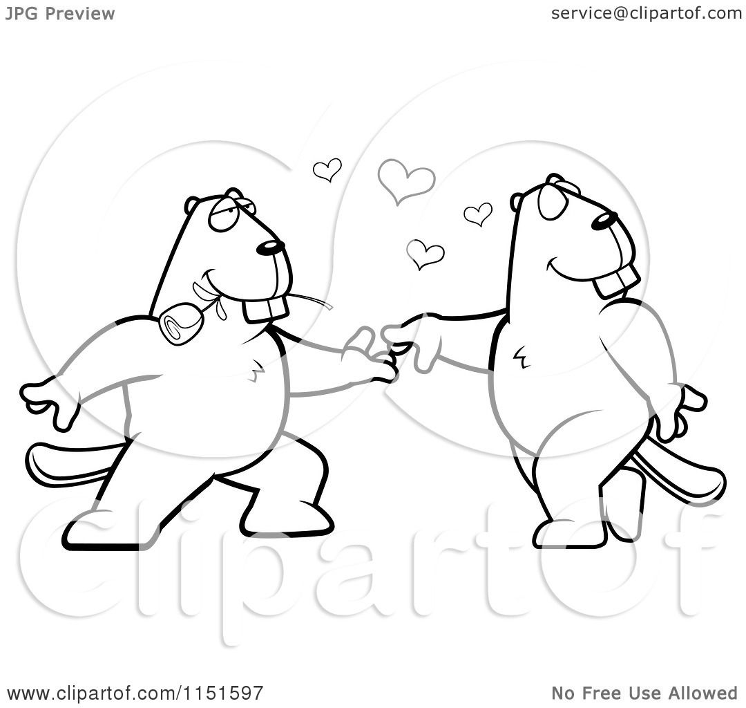 Cartoon Clipart Of A Black And White Beaver Couple Doing a