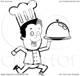 chef running cartoon clipart coloring platter vector outlined cory thoman