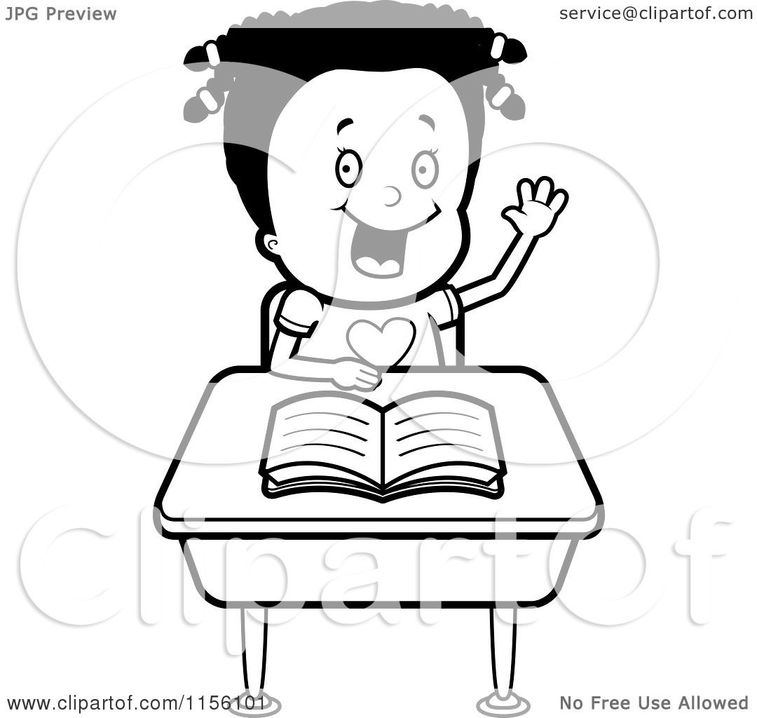Cartoon Clipart Of A Black And White Black Girl Raising