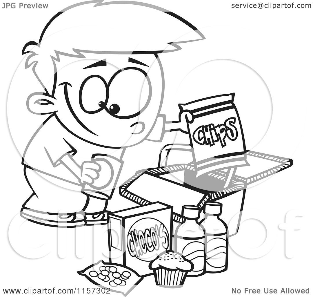 Cartoon Clipart Of A Black And White Boy Packing Junk Food
