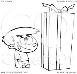 box gift christmas boy standing cartoon clipart coloring vector outlined toonaday leishman ron regarding notes