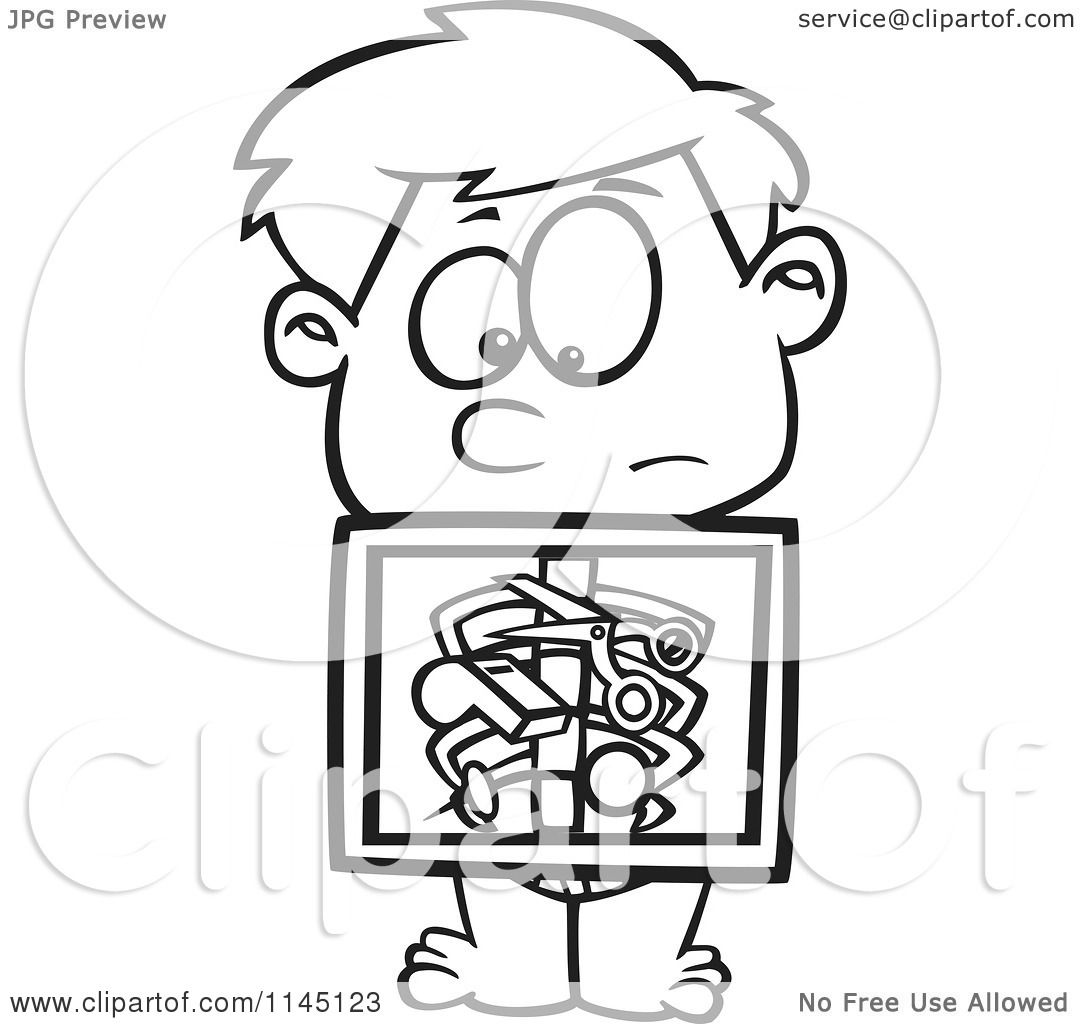 Cartoon Clipart Of A Black And White Boy With An Xray