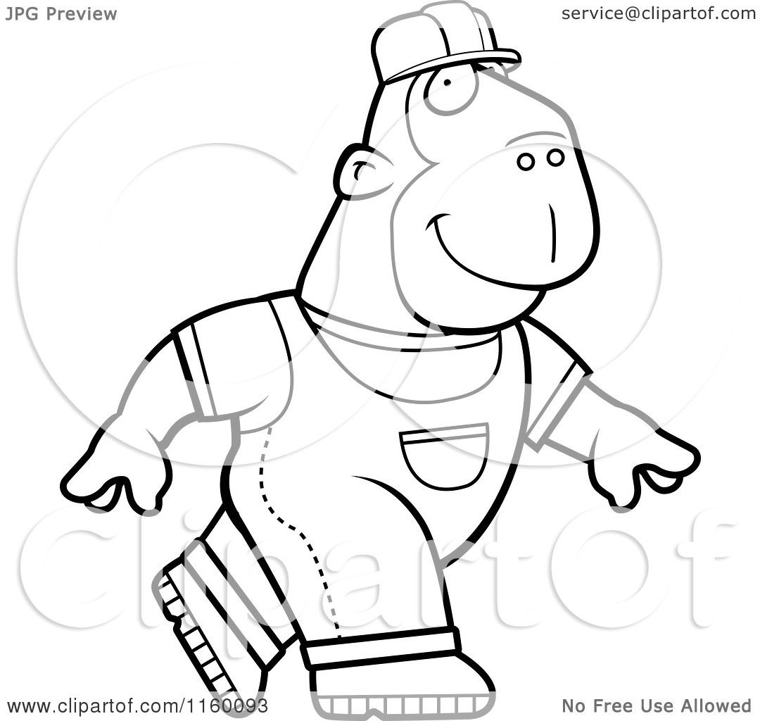 Cartoon Clipart Of A Black And White Builder Ape Walking