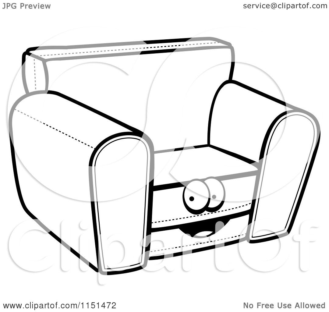 Cartoon Clipart Of A Black And White Chair Character