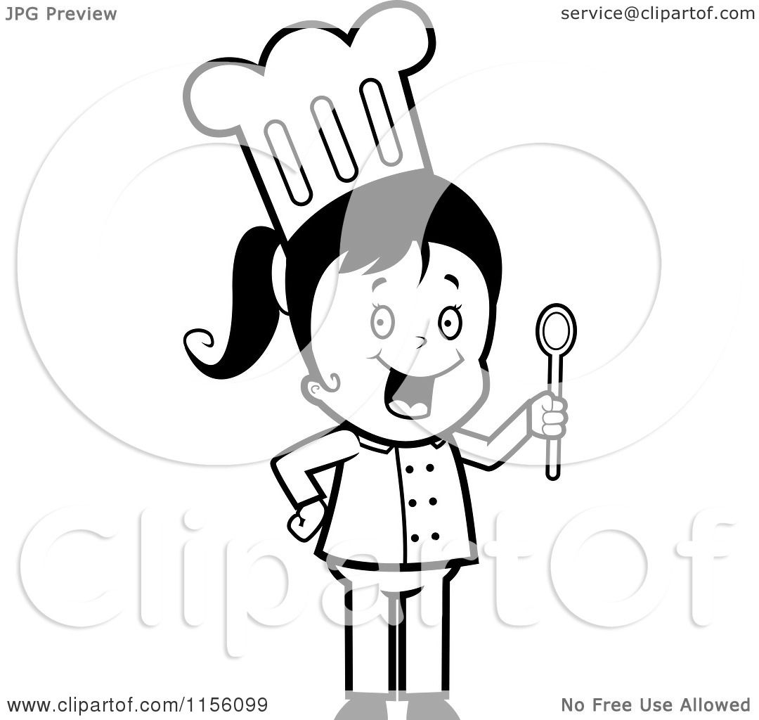Cartoon Clipart Of A Black And White Chef Girl Holding a