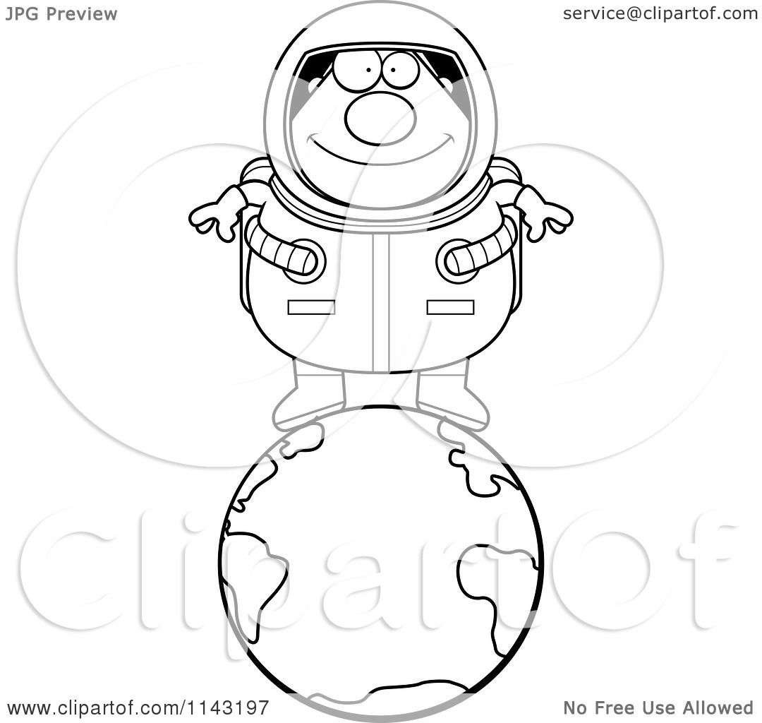 Cartoon Clipart Of A Black And White Chubby Astronaut Standing On Top Of Earth