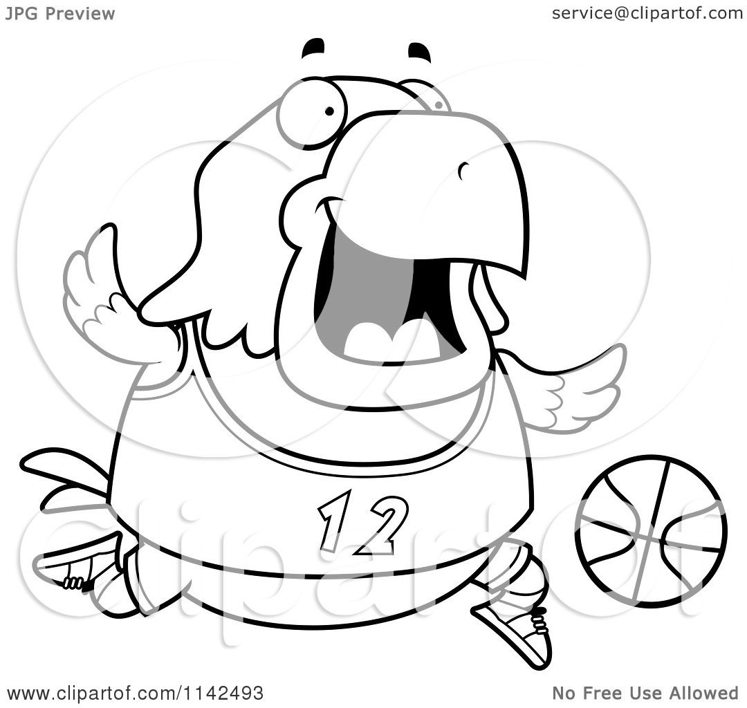 Cartoon Clipart Of A Black And White Chubby Bald Eagle Playing Basketball