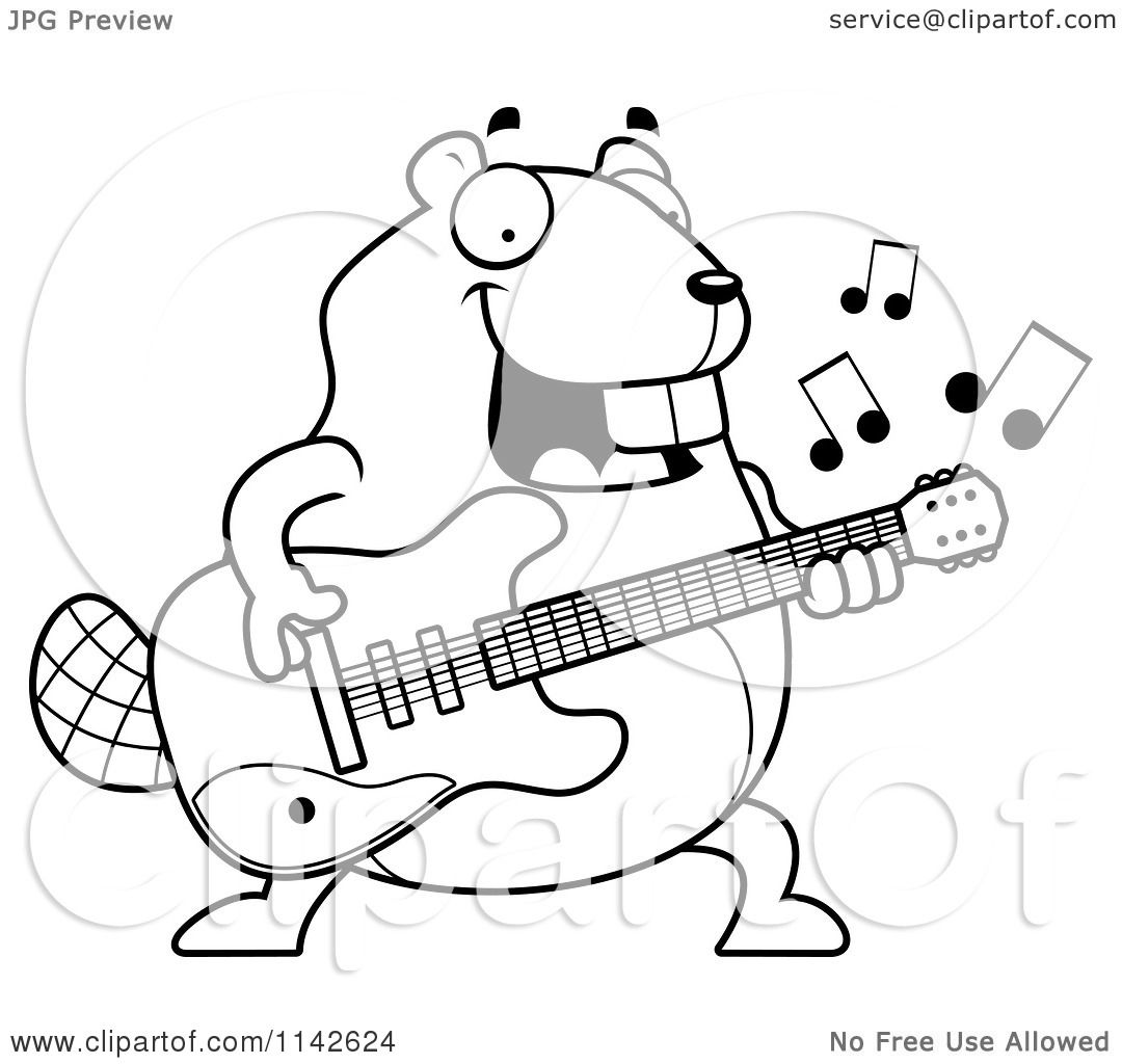 Cartoon Clipart Of A Black And White Chubby Beaver