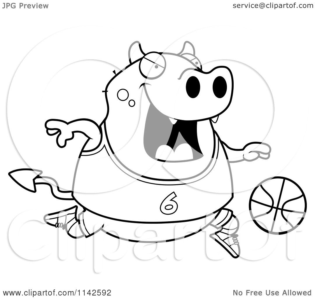 Cartoon Clipart Of A Black And White Chubby Devil Playing Basketball