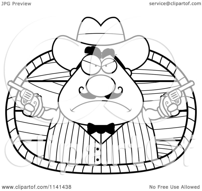 cartoon clipart of a black and white chubby male wild west