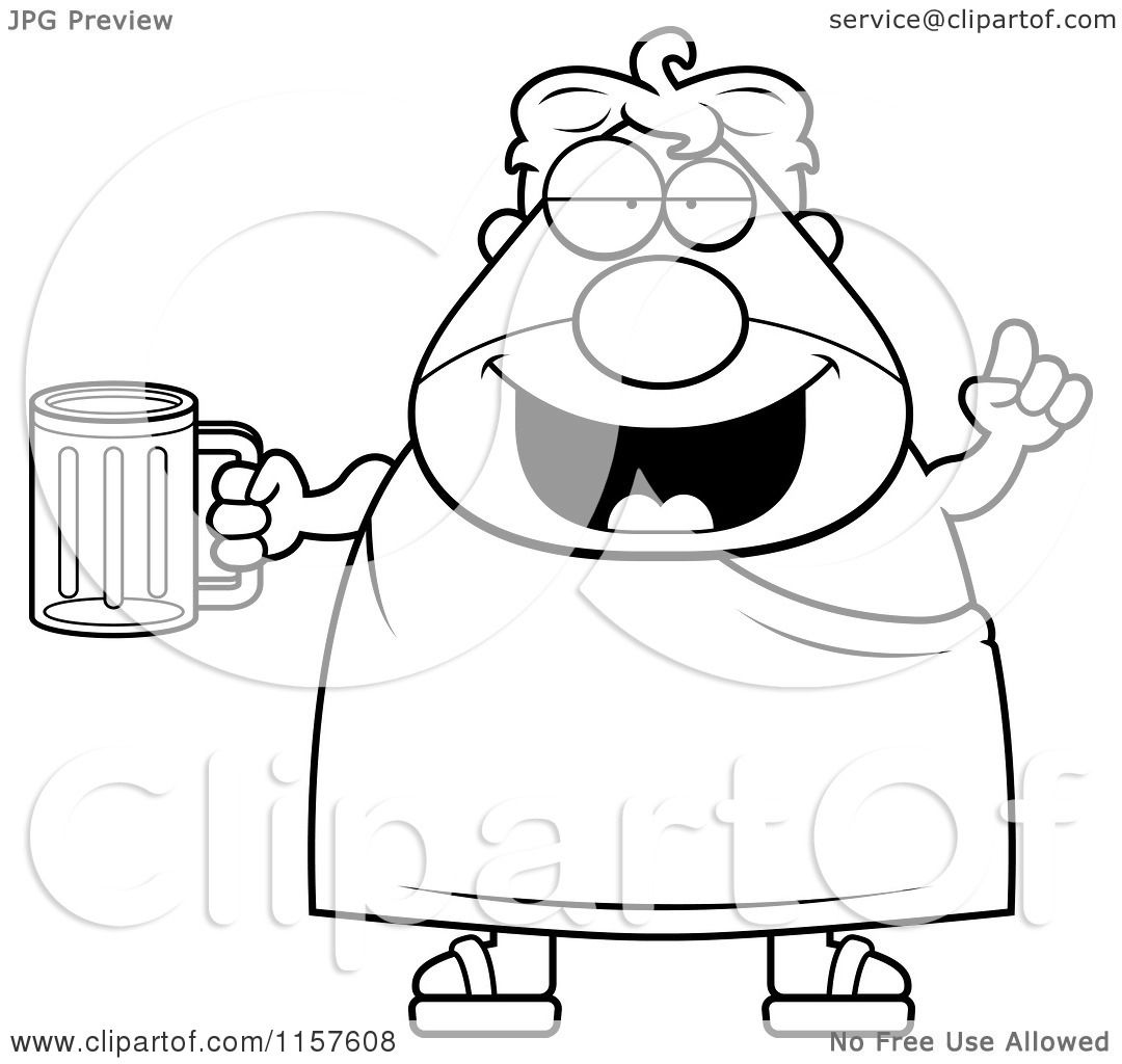 Cartoon Clipart Of A Black And White Chubby Man With Beer
