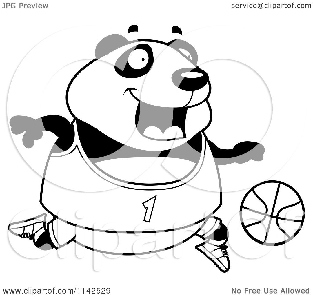 Cartoon Clipart Of A Black And White Chubby Panda Playing Basketball