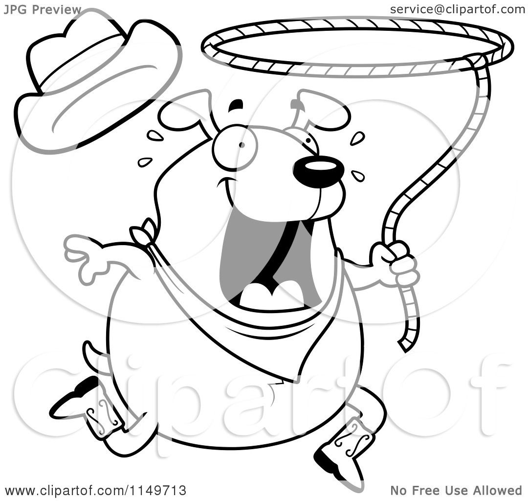 Cartoon Clipart Of A Black And White Chubby Rodeo Dog
