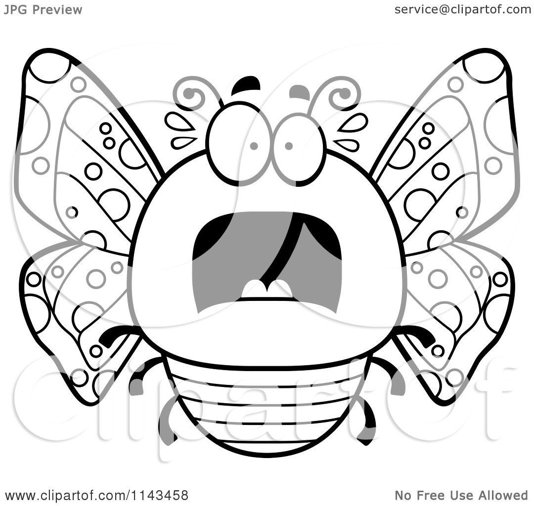 Cartoon Clipart Of A Black And White Chubby Scared
