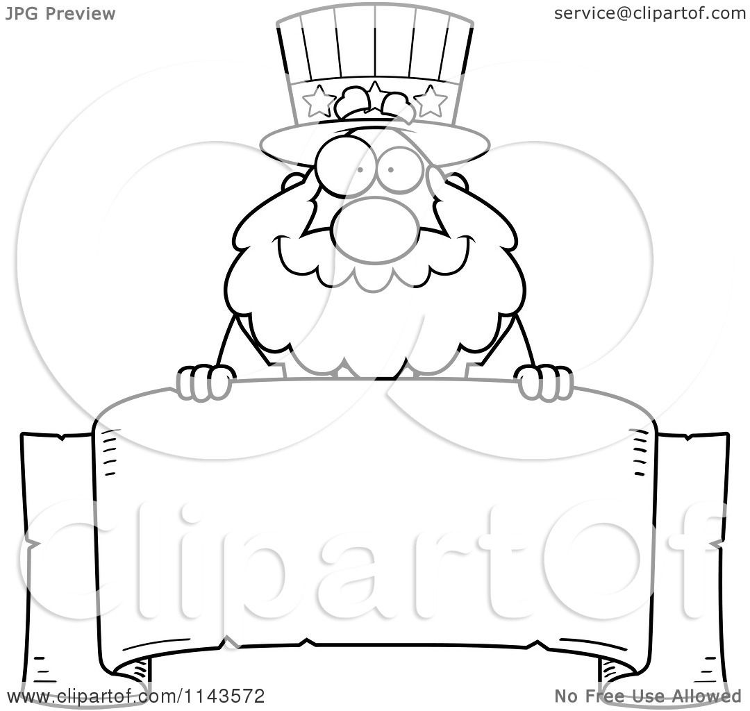 Cartoon Clipart Of A Black And White Chubby Uncle Sam Over