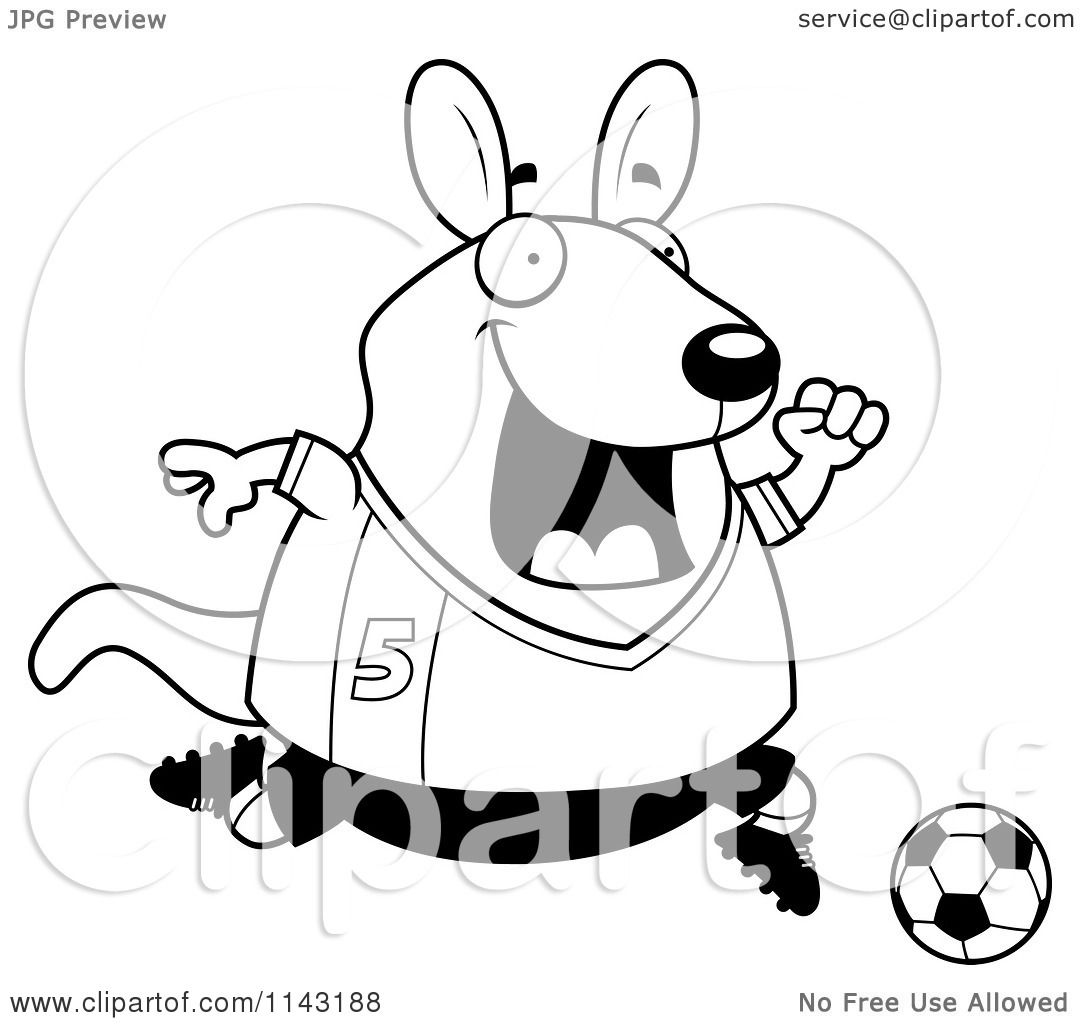 Cartoon Clipart Of A Black And White Chubby Wallaby