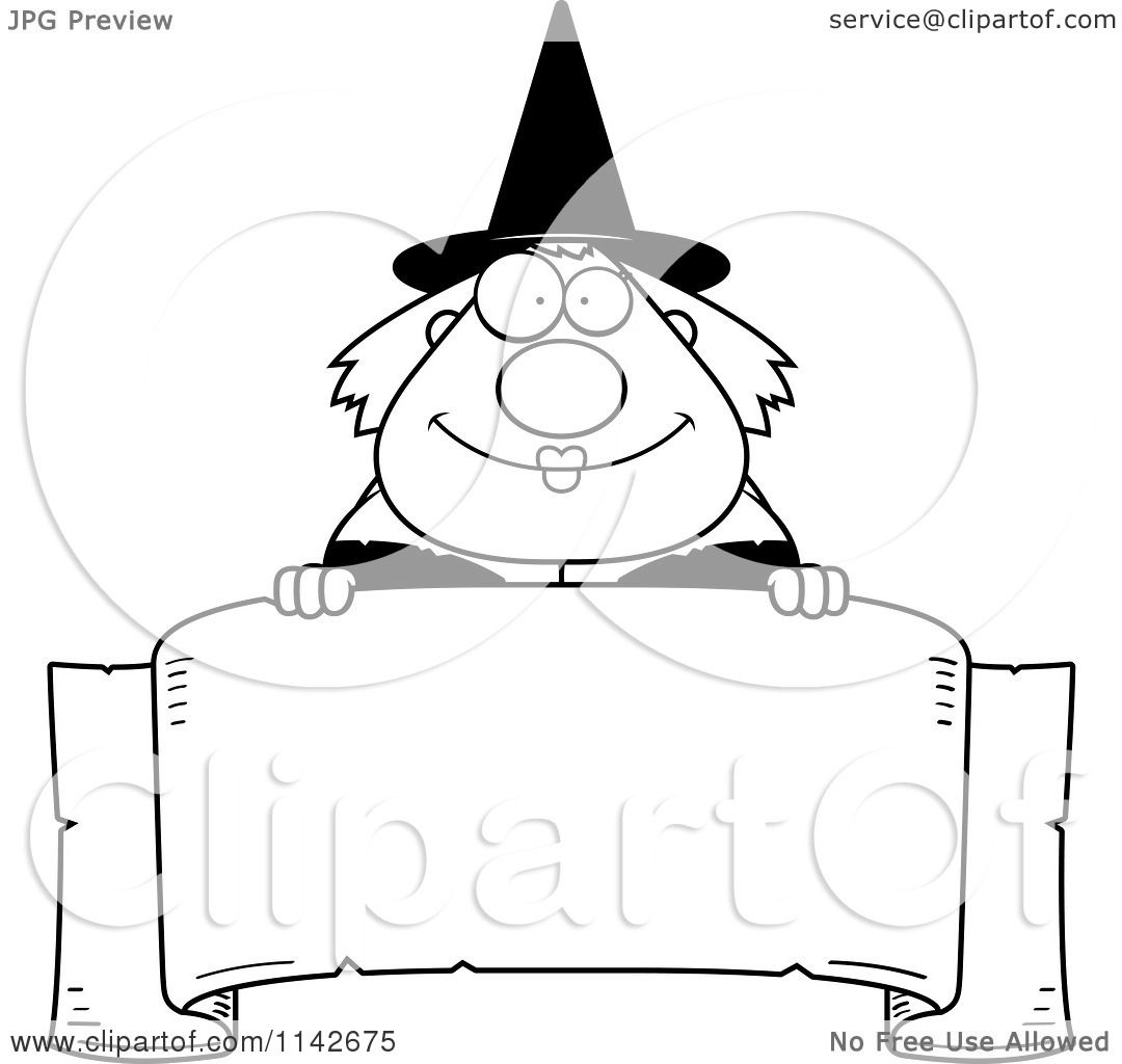 Cartoon Clipart Of A Black And White Chubby Witch Over A