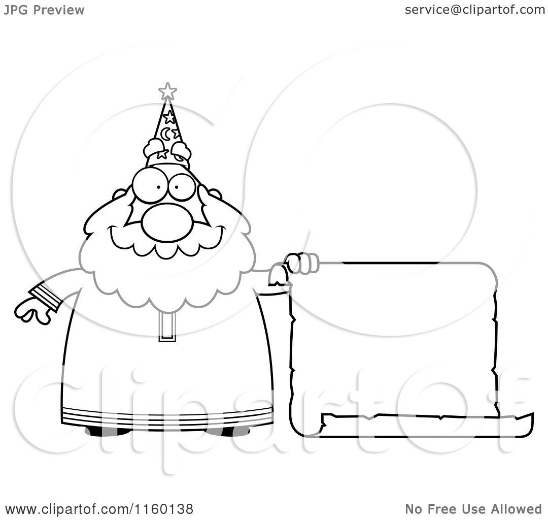 Cartoon Clipart Of A Black And White Chubby Wizard Holding