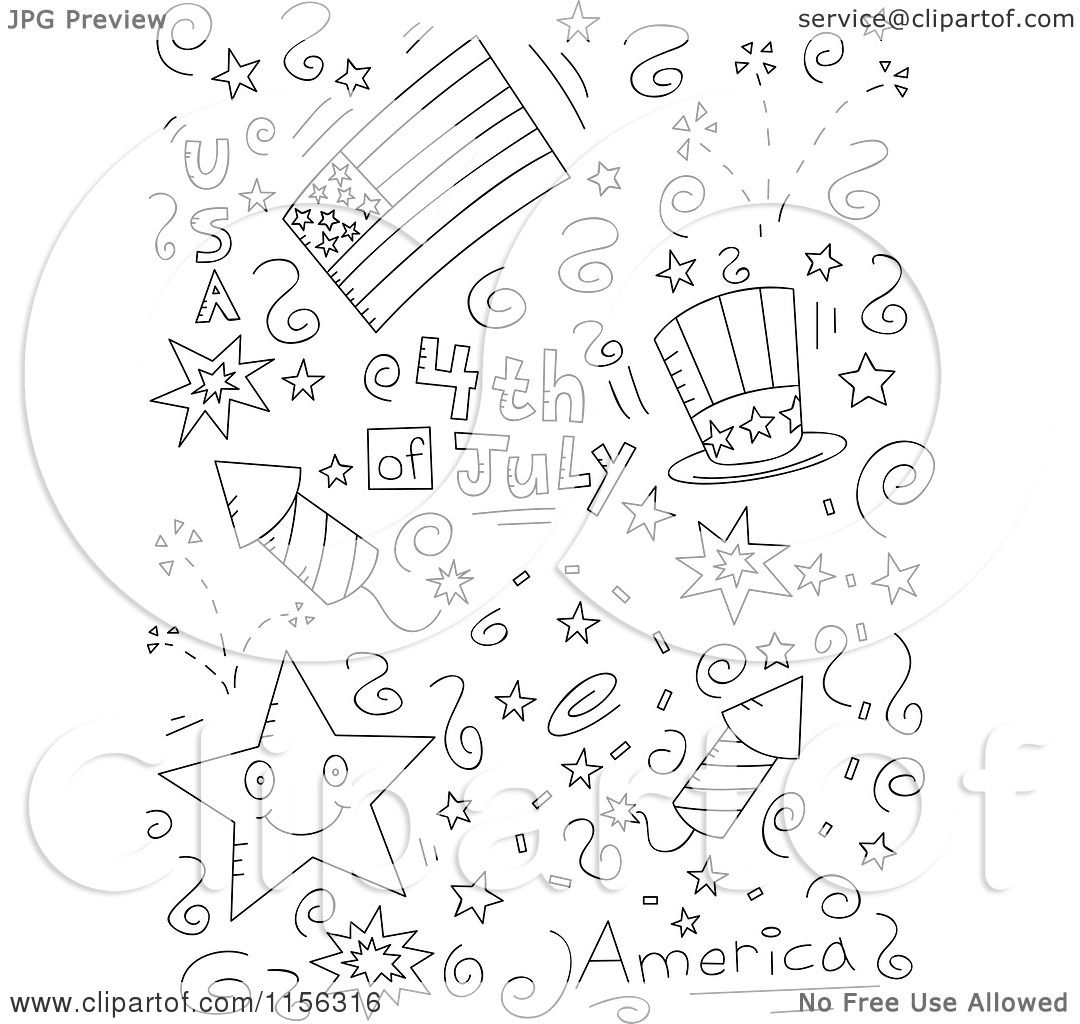 Cartoon Clipart Of A Black And White Collage Of Fourth Of