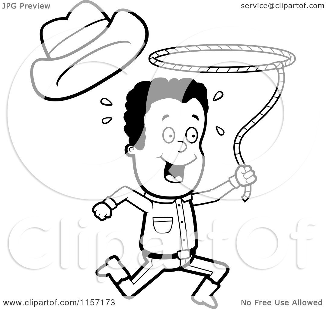 Cartoon Clipart Of A Black And White Cowboy Swinging A