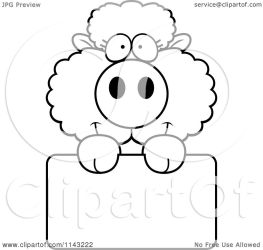 sheep cute baby holding cartoon coloring sign blank clipart outlined vector thoman cory regarding notes