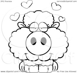 sheep cute baby cartoon clipart coloring vector outlined thoman cory royalty