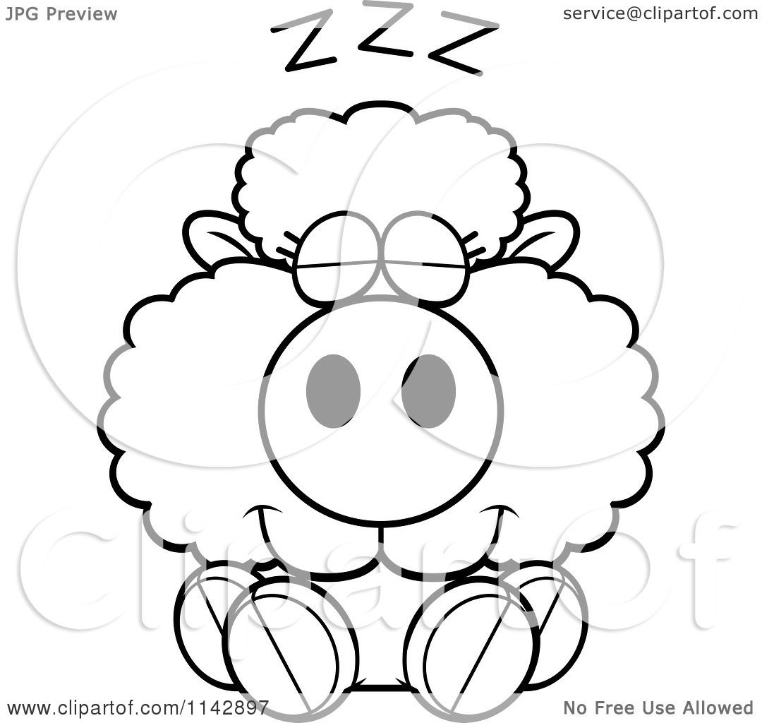 Cartoon Clipart Of A Black And White Cute Baby Sheep Sleeping