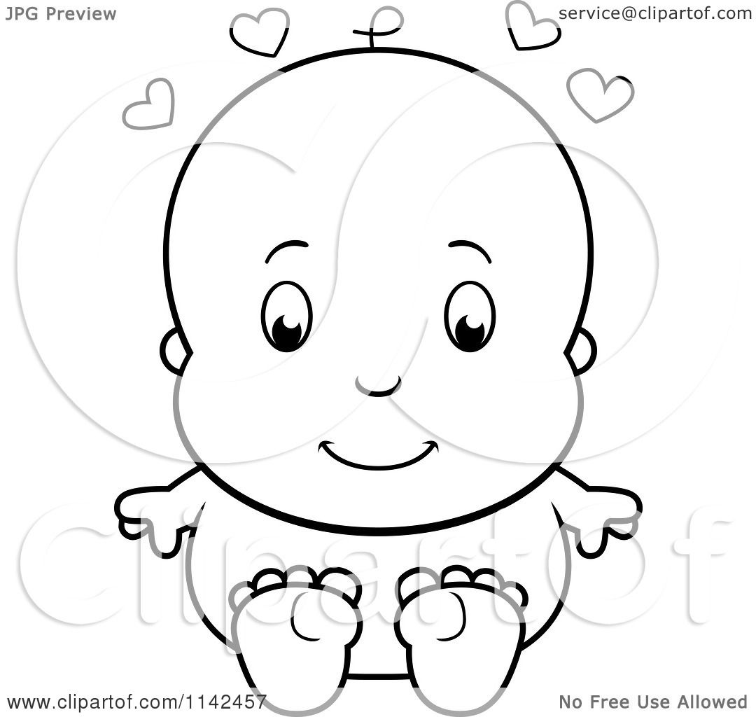 Cartoon Clipart Of A Black And White Cute Baby Sitting Naked