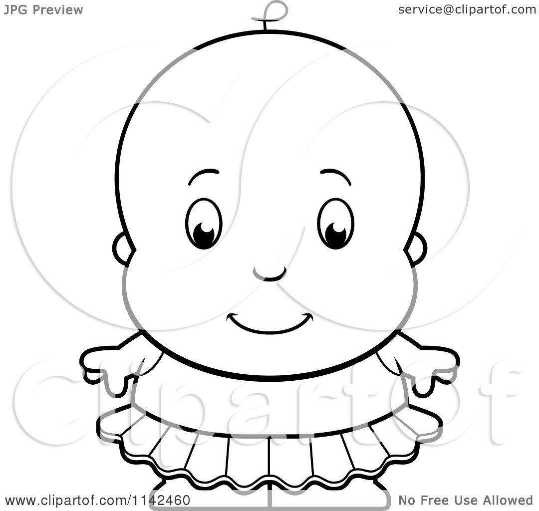 Cartoon Clipart Of A Black And White Cute Ballerina Baby Girl In A Tutu