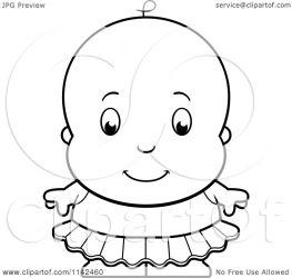 baby tutu ballerina cute cartoon clipart coloring vector outlined cory thoman notes illustration clipartof