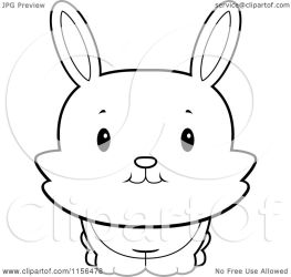rabbit bunny cute cartoon clipart looking front coloring thoman vector royalty cory illustration outlined rf without background clipartof