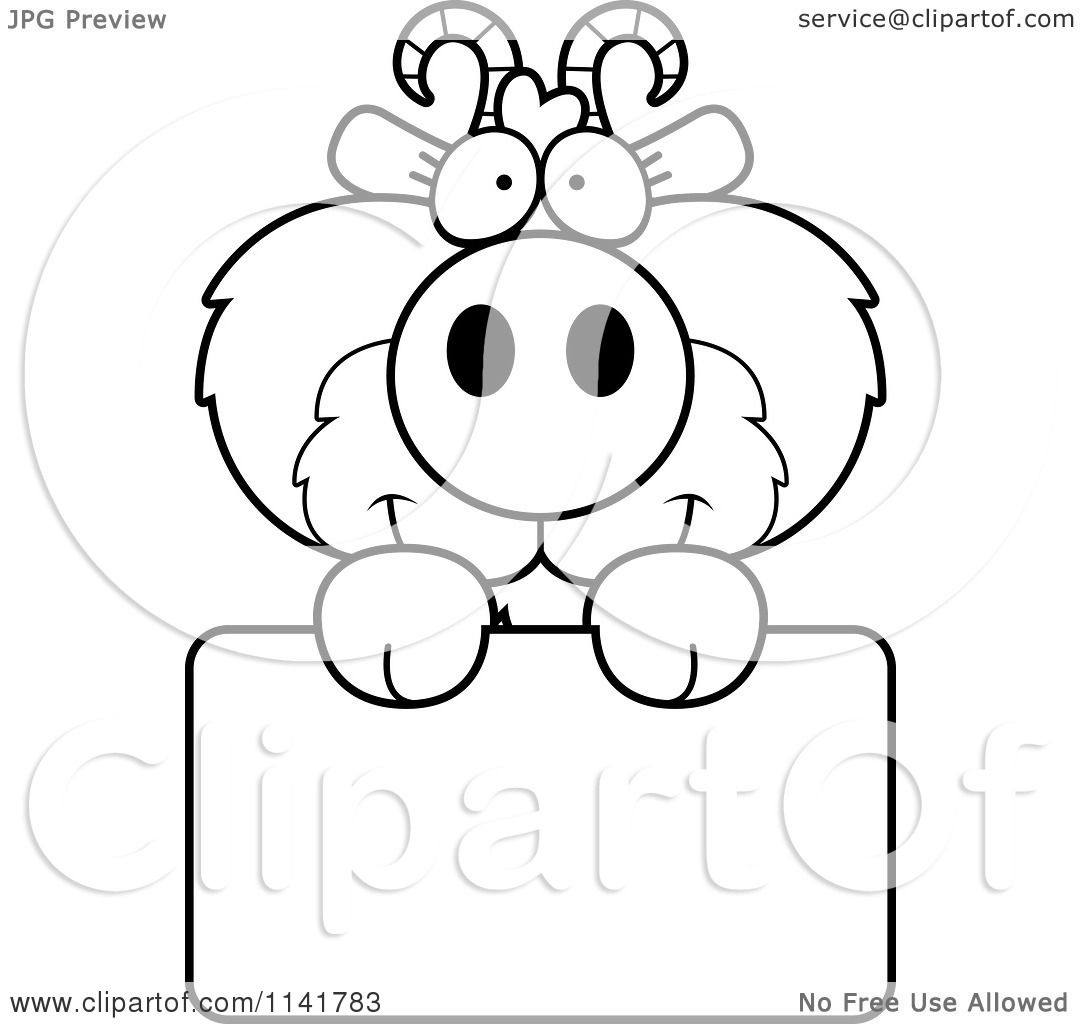 Cartoon Clipart Of A Black And White Cute Goat Holding A