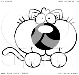 cute kitten cartoon looking clipart coloring surface vector cory thoman outlined