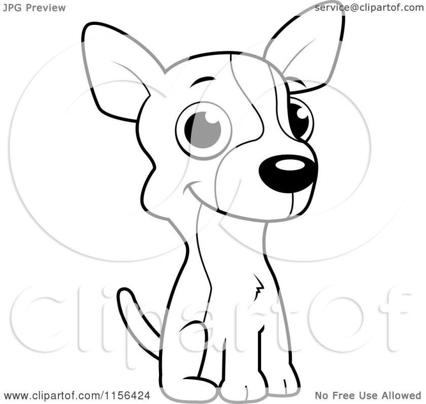 cartoon clipart of a black and white cute little chihuahua