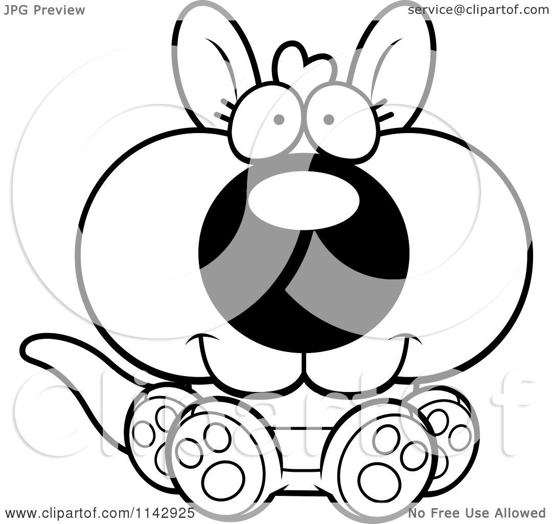 Cartoon Clipart Of A Black And White Cute Sitting Kangaroo