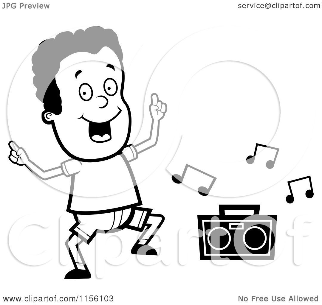 Cartoon Clipart Of A Black And White Dancing African
