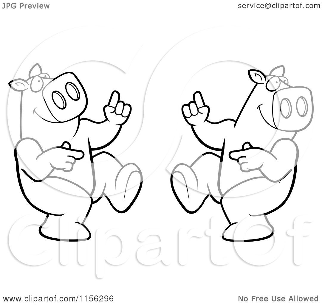 Cartoon Clipart Of A Black And White Dancing Pig Couple