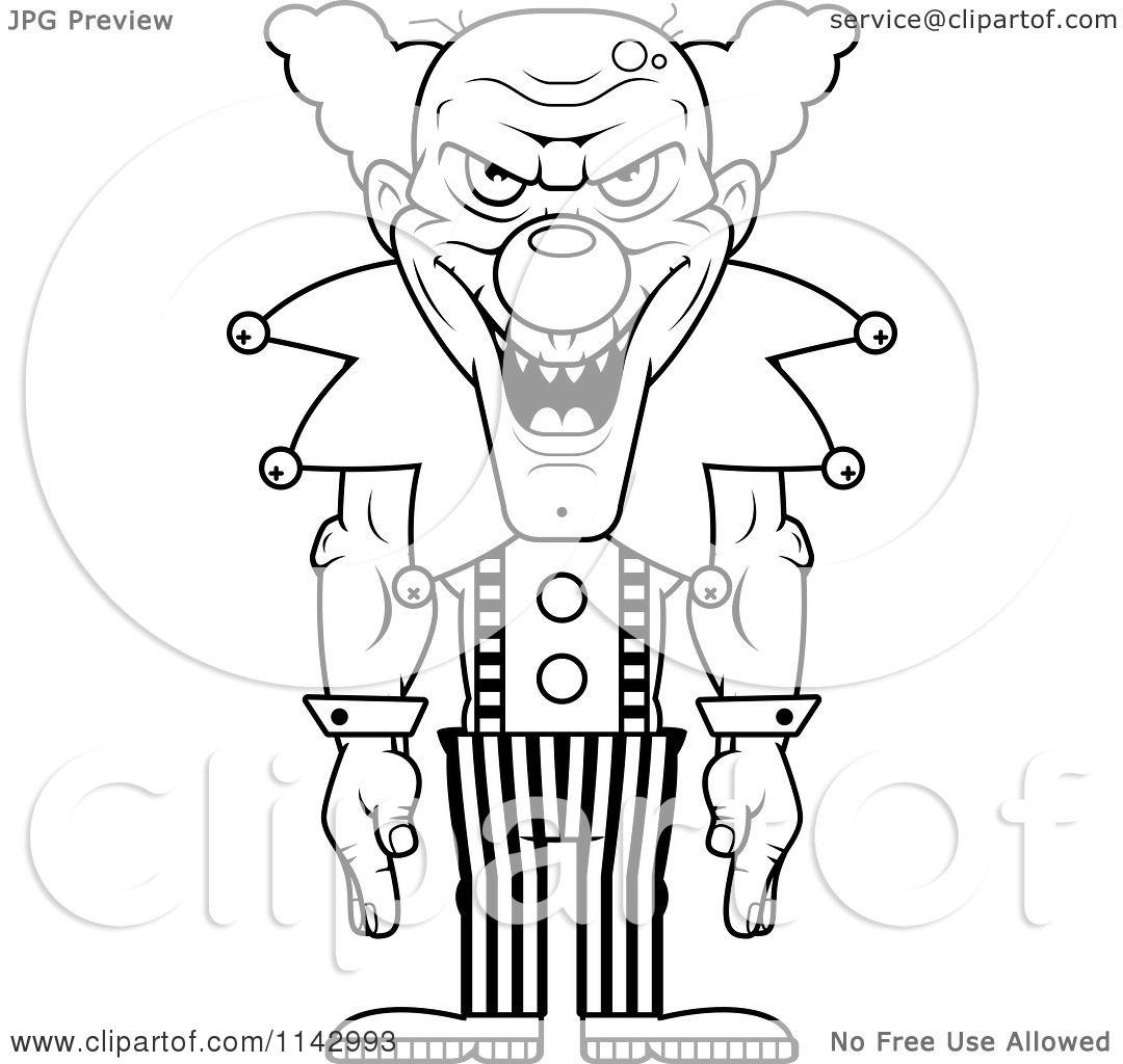 Cartoon Clipart Of A Black And White Demonic Clown